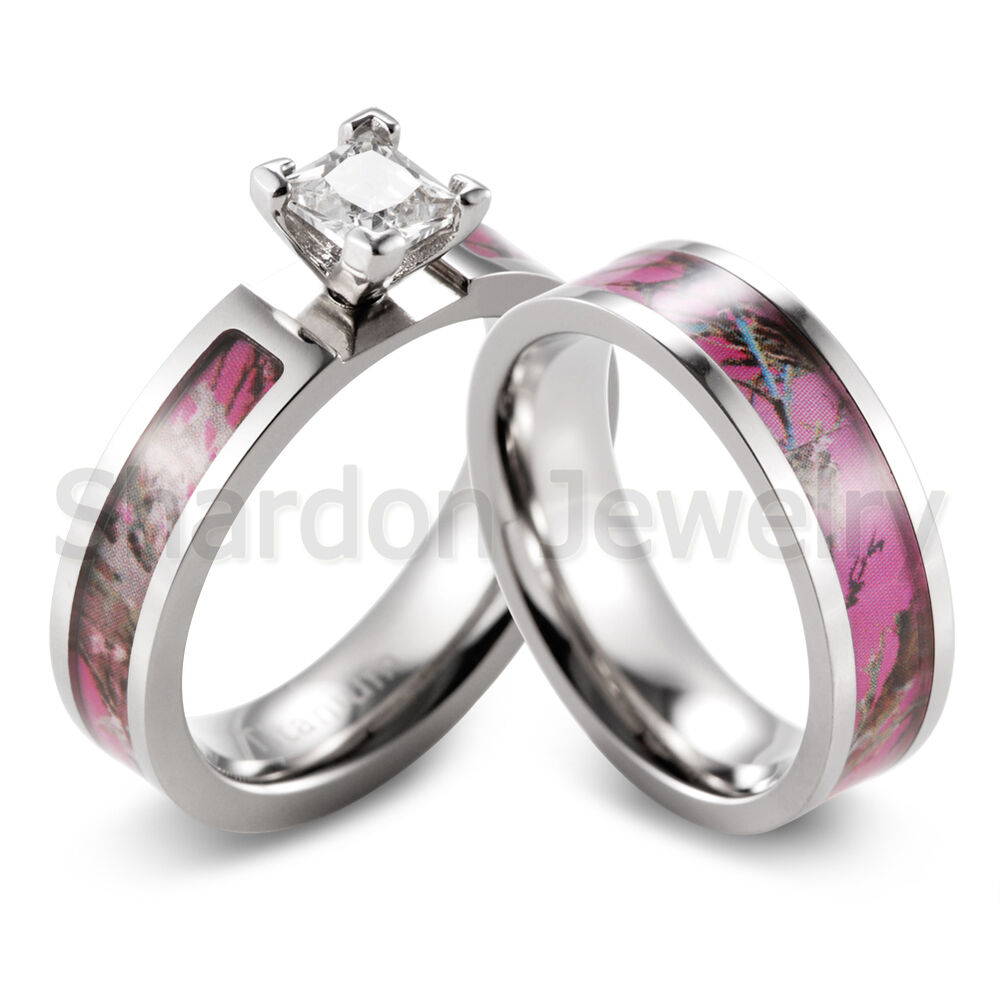 Pink muddy tree camo ring cz prong setting engagement for Wedding rings with pink