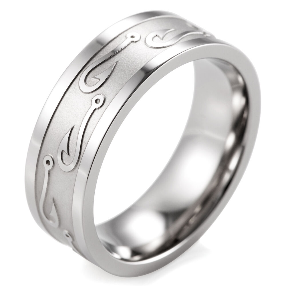 Mens Outdoors Bands: 8mm Men's Textured Fish Hook Wedding Band Titanium Outdoor