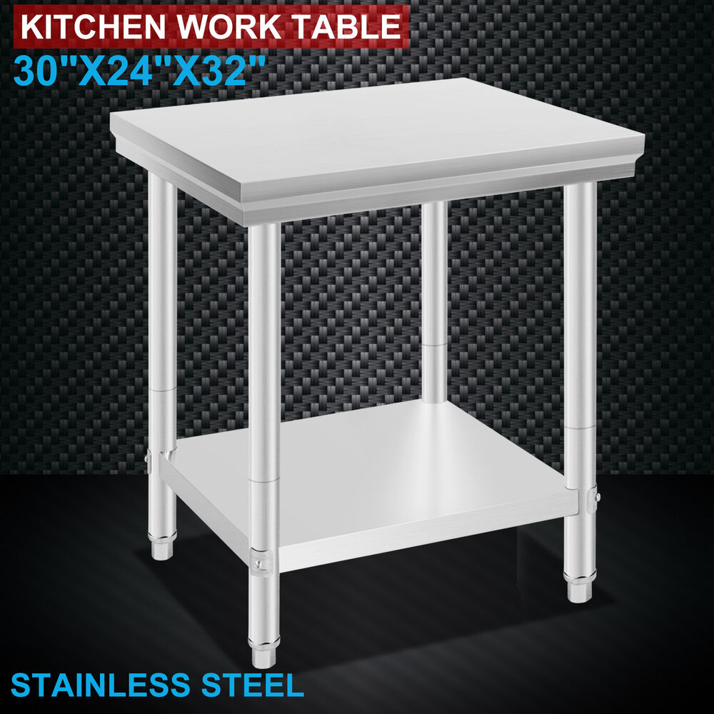 "Industrial Kitchen Prep Table: 24"" X 30"" Stainless Steel Work Prep Table Commercial"