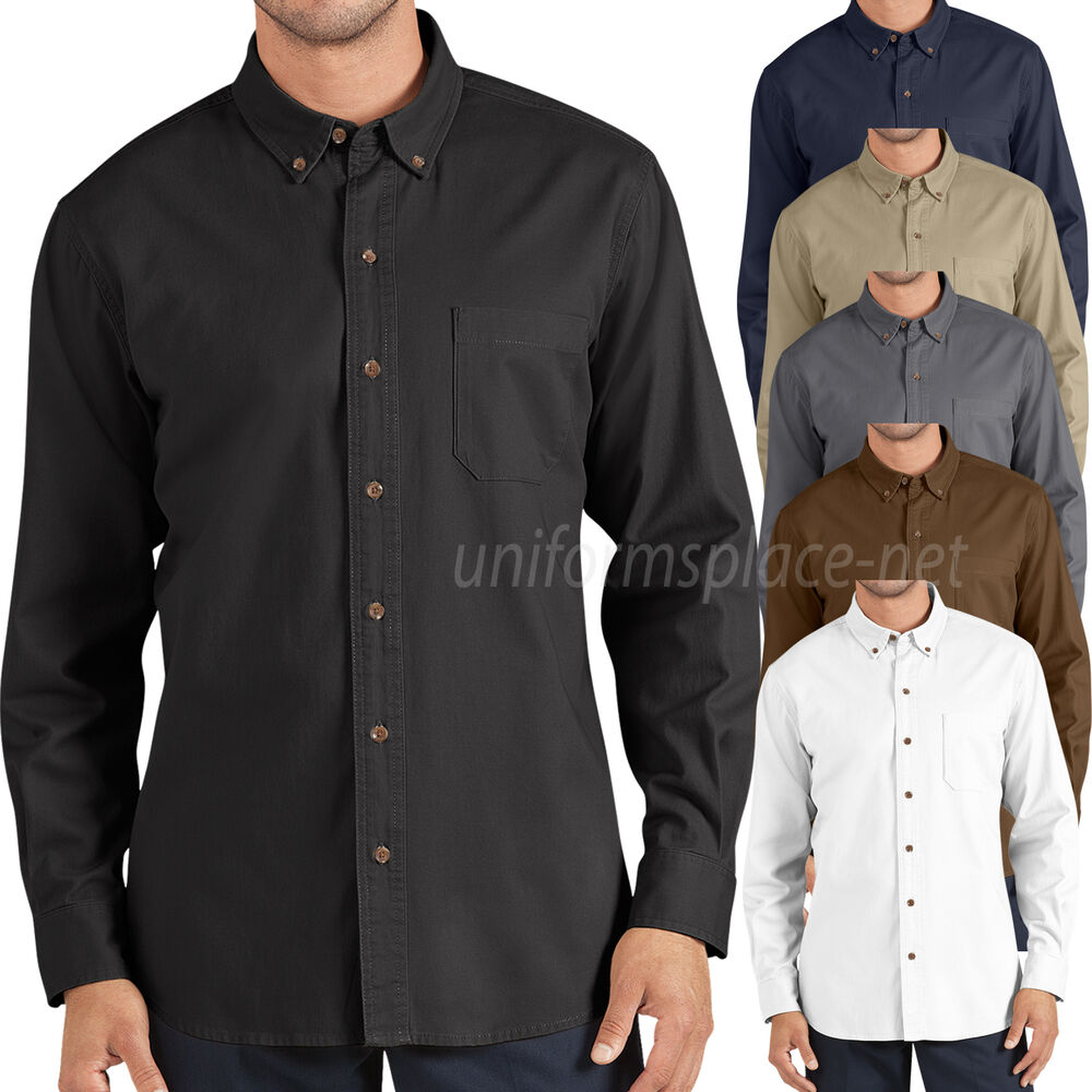 dickies shirt mens long sleeve cotton twill shirts button