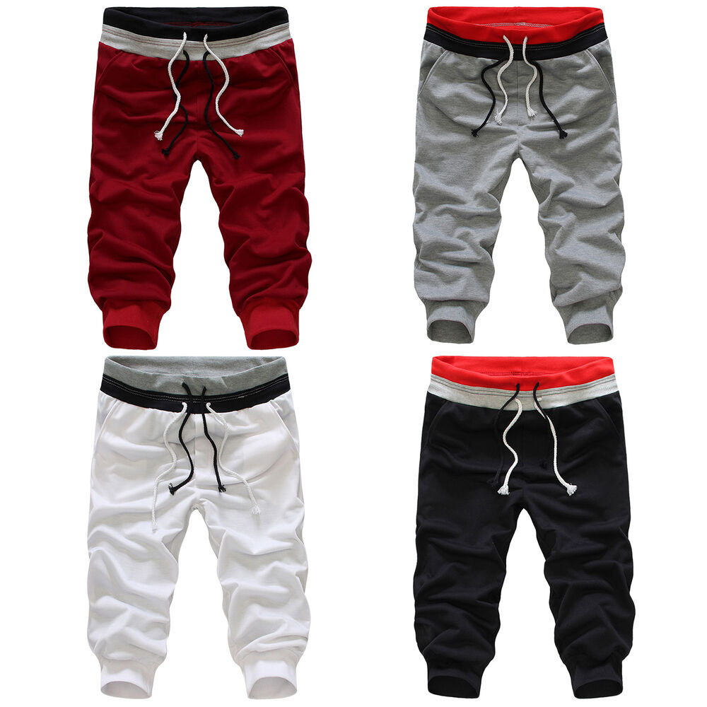 men 3 4 knee casual sports rope baggy pants jogger. Black Bedroom Furniture Sets. Home Design Ideas