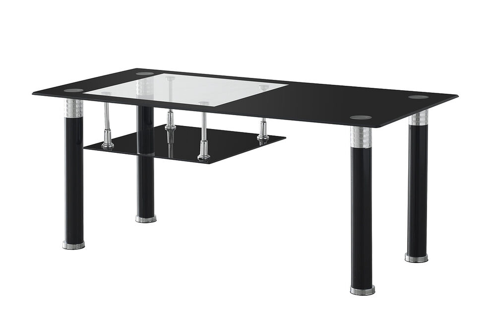 Modern Black Chrome Tempered Glass Coffee Table 1000mm With Glass Shelf Storage Ebay