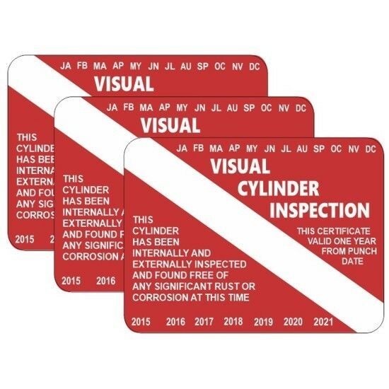 Scuba Diving Tank Visual Inspection Cylinders Sticker Vip