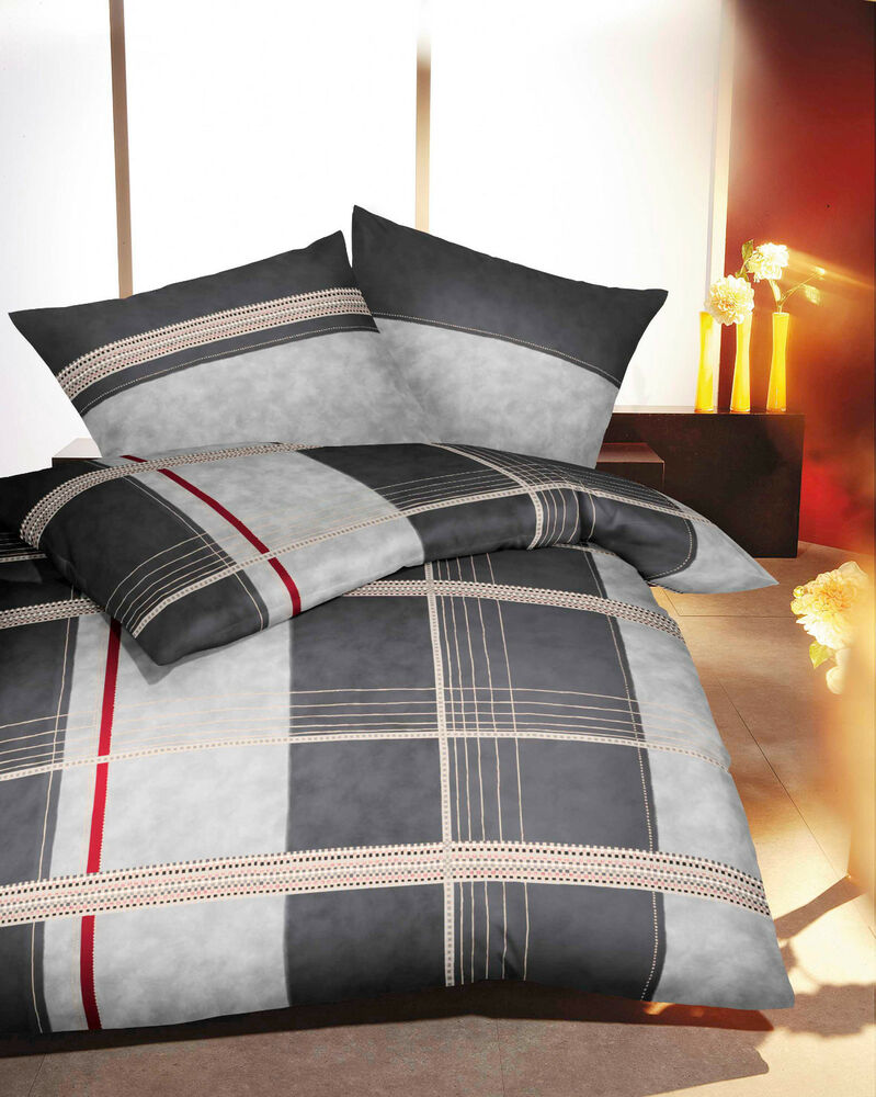 kaeppel mako satin bettw sche design karo schwarz grau 200x200 ebay. Black Bedroom Furniture Sets. Home Design Ideas