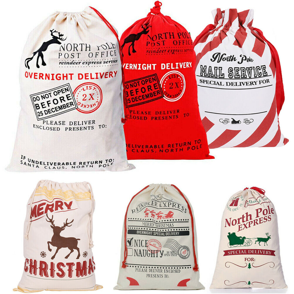 Large canvas merry christmas santa sack xmas stocking