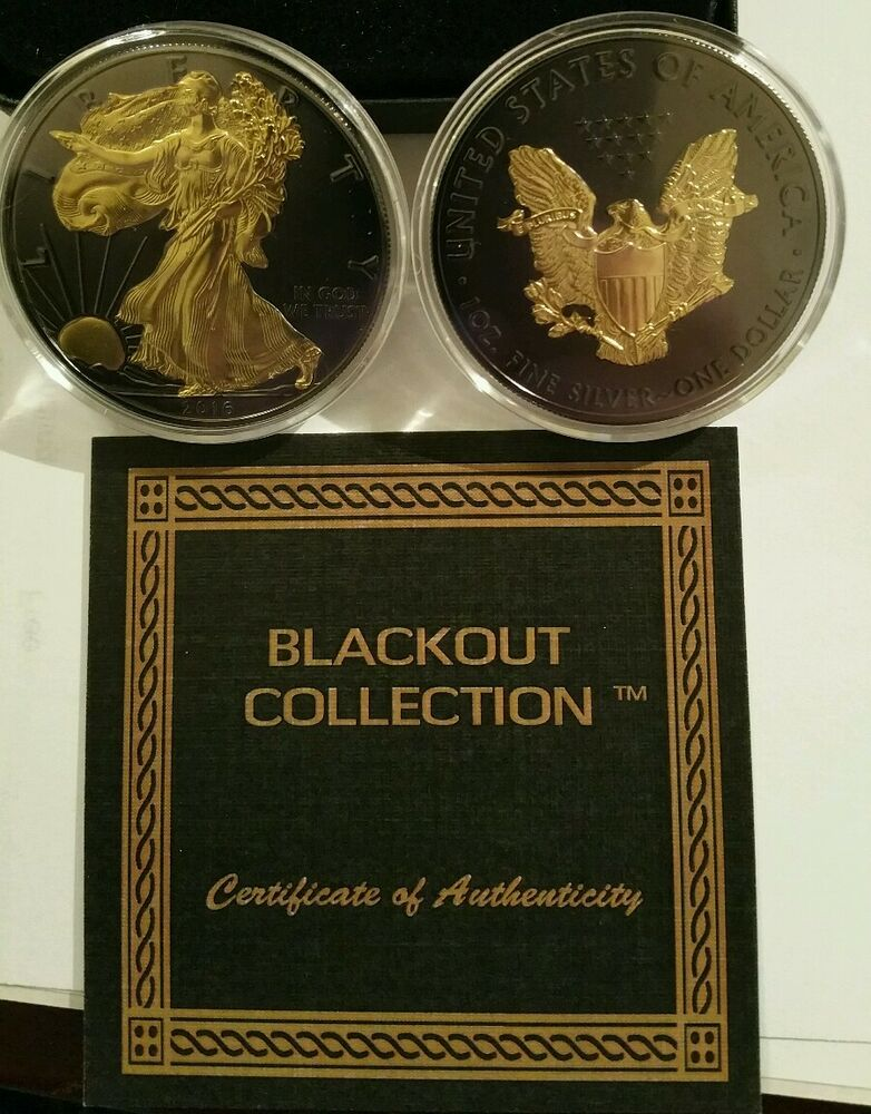2016 American Eagle Blackout Silver Dollar Ruthenium Amp 24k
