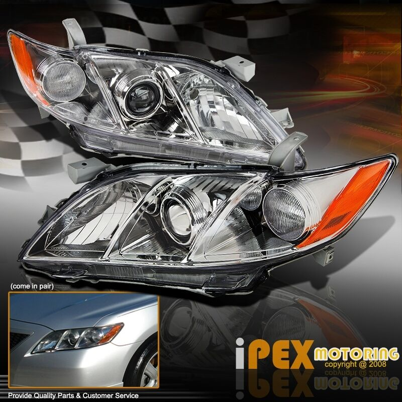 premium quality 2007 2008 2009 toyota camry projector headlights headlamp chrome ebay. Black Bedroom Furniture Sets. Home Design Ideas