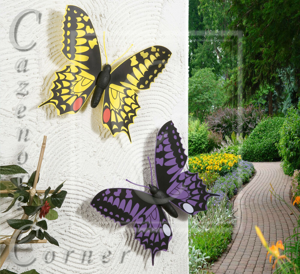2 set butterfly wall decoration garden ornaments wall for Outdoor butterfly decor