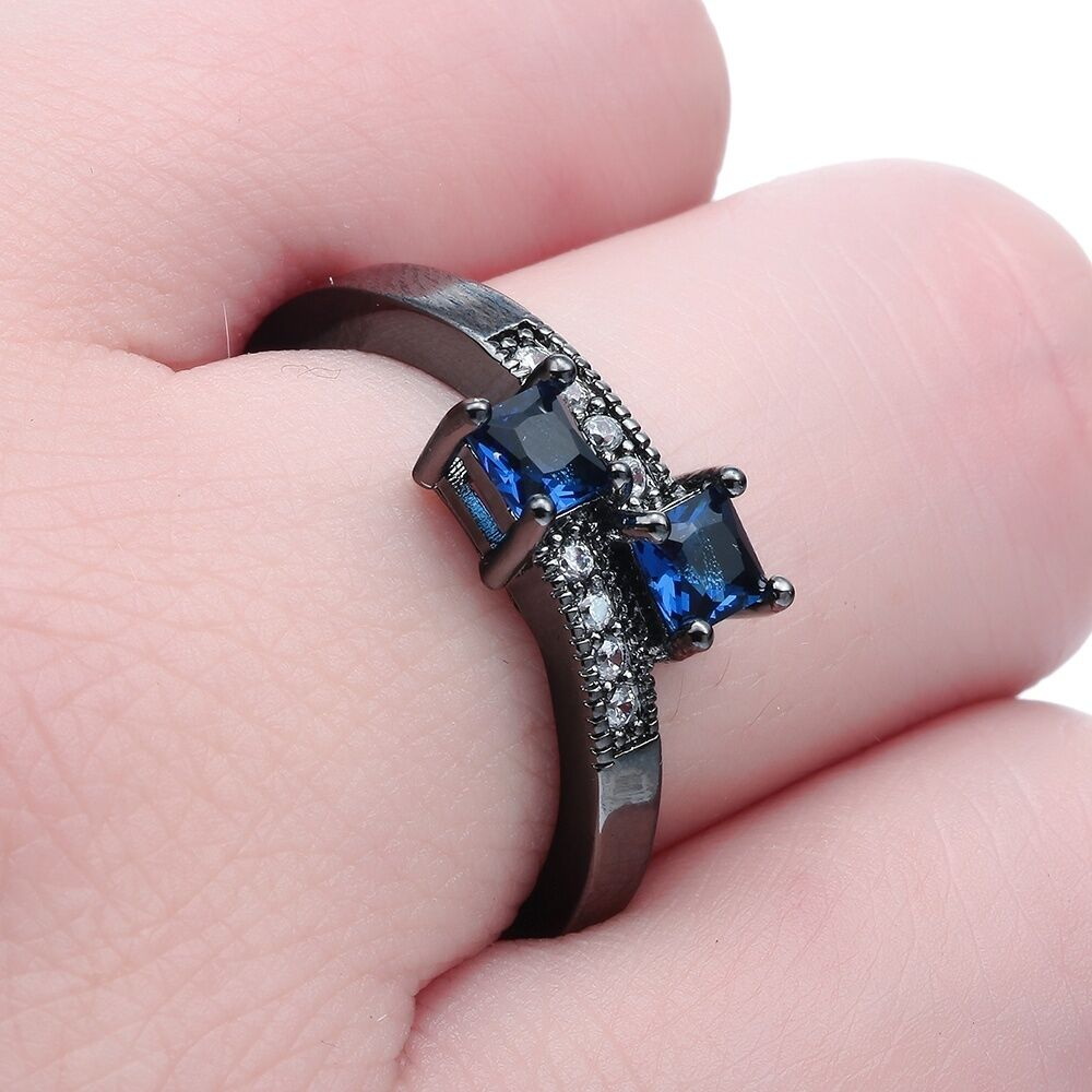 10KT Black Gold Filled Sapphire Wedding Engagement Ring Jewelry ...