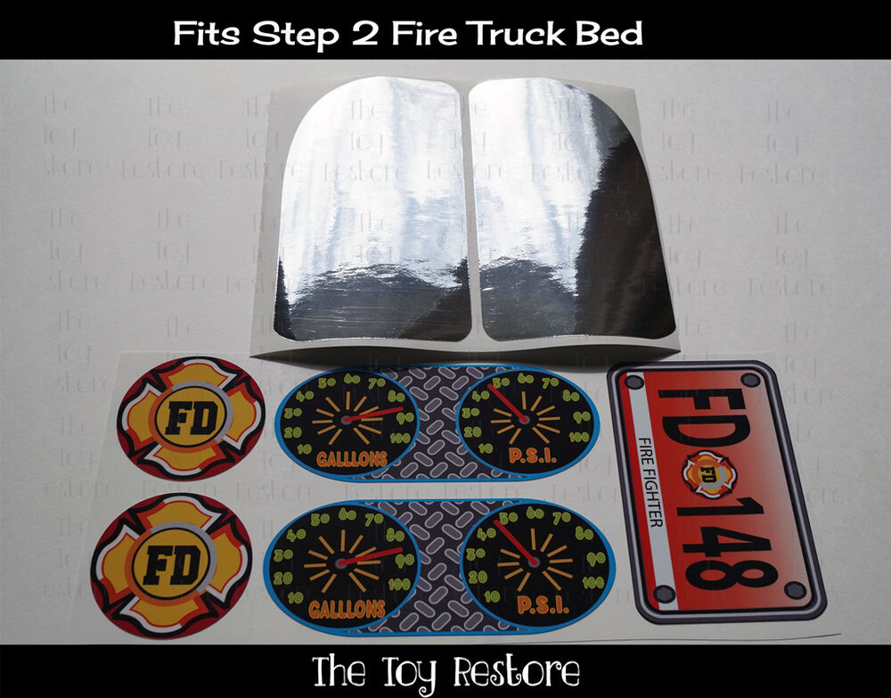 Replacement Decals Stickers Fits Step 2 Fire Truck Toddler