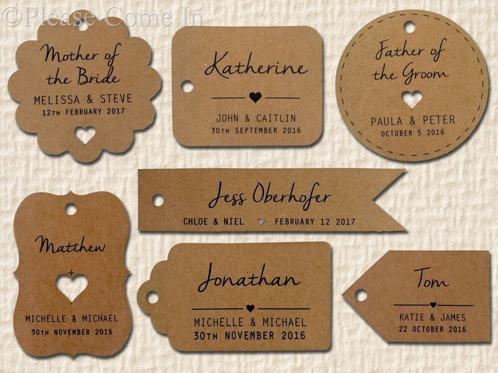 Wedding Gift Name Tags : ... Personalised Kraft Wedding Favour Gift Tags with Guest Name eBay