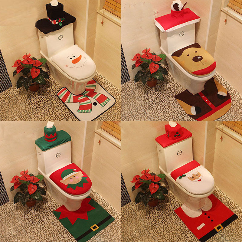 Hot happy xmas toilet covers dinner decor christmas decor for Bathroom xmas decor