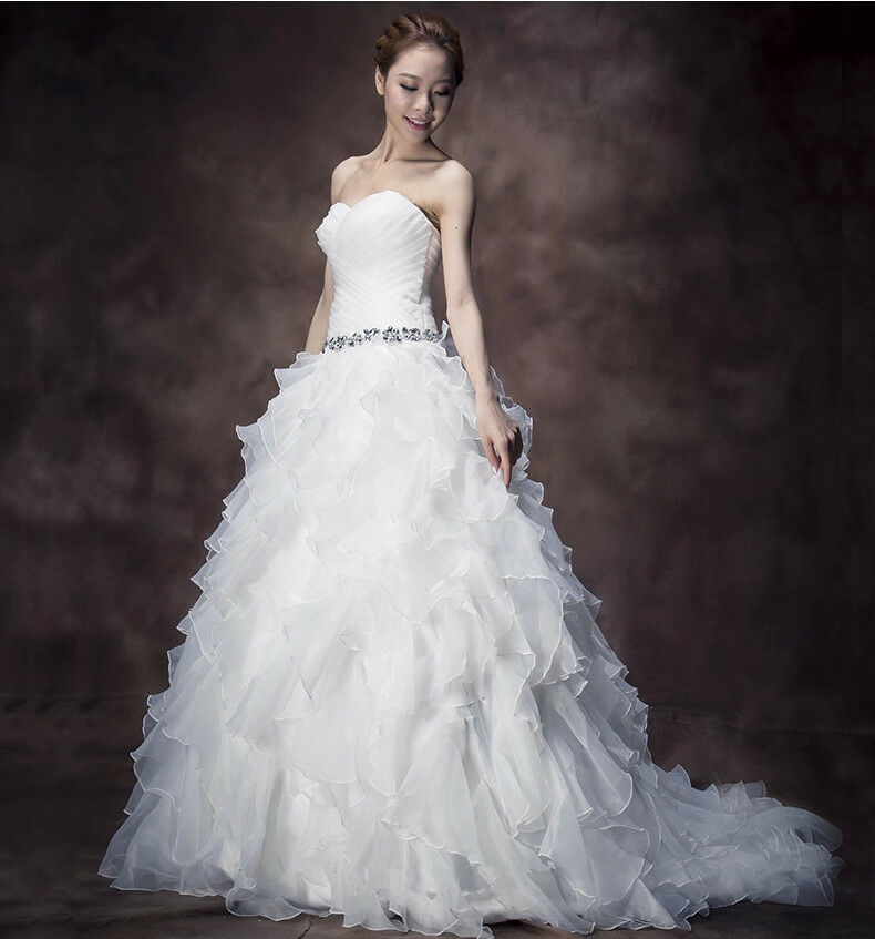 gown organza ruffles wedding bridal dresses stock size 6 16 ebay