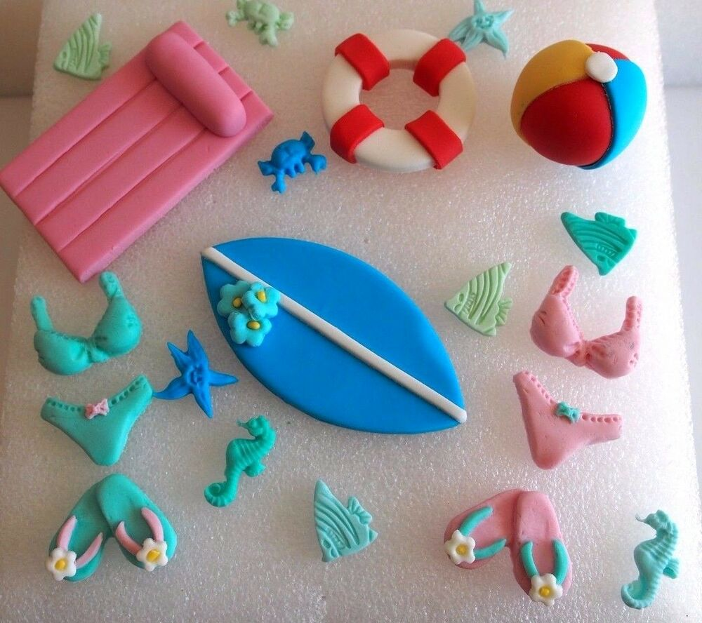 Edible Beach Themed Cake Decorations: EDIBLE Summer CUPCAKE TOPPERS Beach Cake Decorations POOL