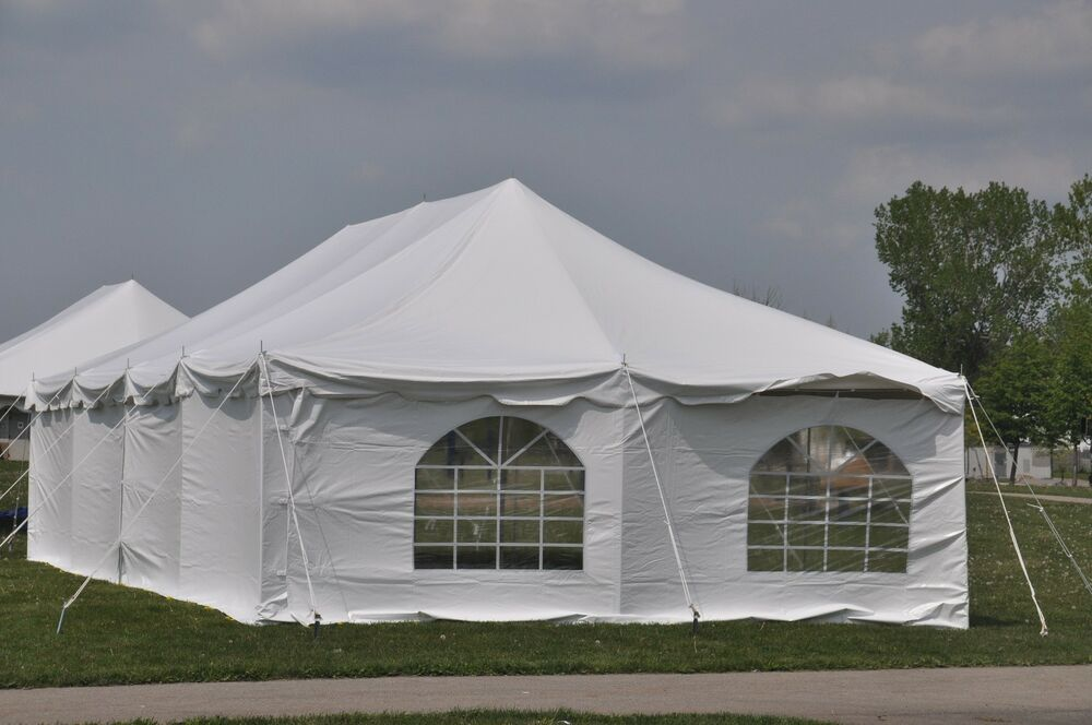 20 X 40 White Pole Tent Wedding Canopy Economy Party Event