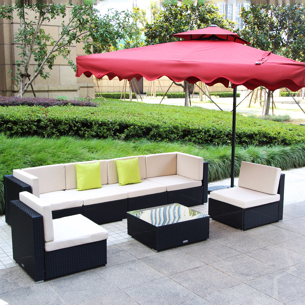 brand new 7 piece 3 7 piece patio pe rattan wicker sofa sectional furniture set ebay. Black Bedroom Furniture Sets. Home Design Ideas