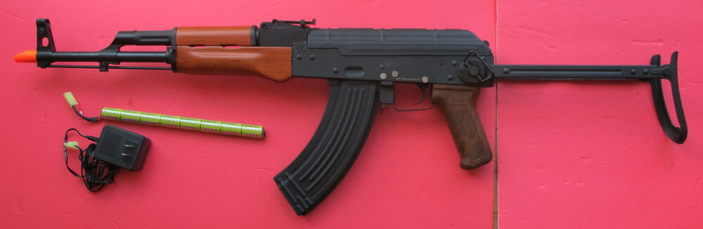 steel body ak47 s electric airsoft gun real wood hand guard shoot 360 400 fps ebay. Black Bedroom Furniture Sets. Home Design Ideas