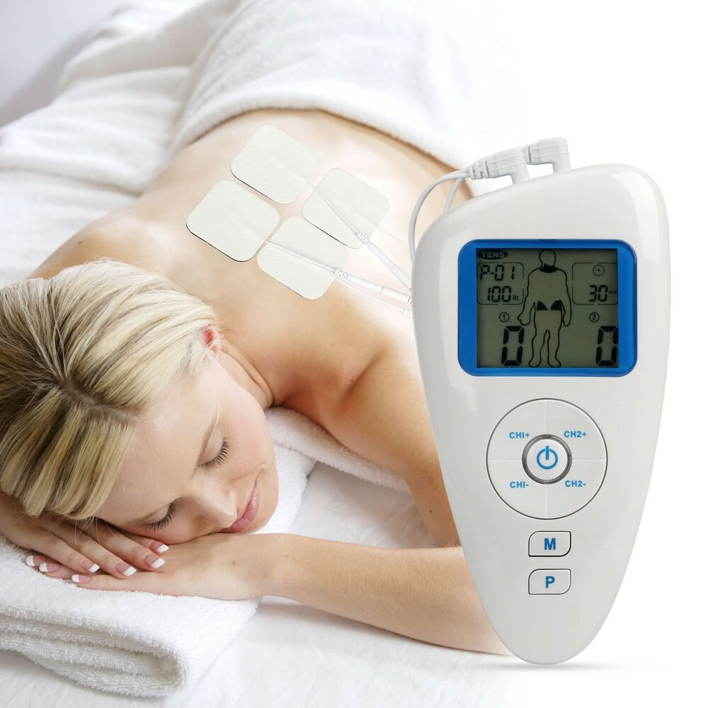 new dual tens ems massager electrical stimulator full body pulse massage machine ebay. Black Bedroom Furniture Sets. Home Design Ideas
