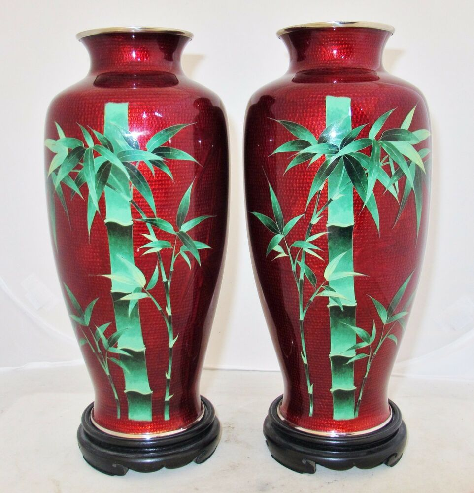 9 7 Quot Pair Of Vintage Japanese Pigeon Blood Red Cloisonne Bamboo Vases W Stands Ebay