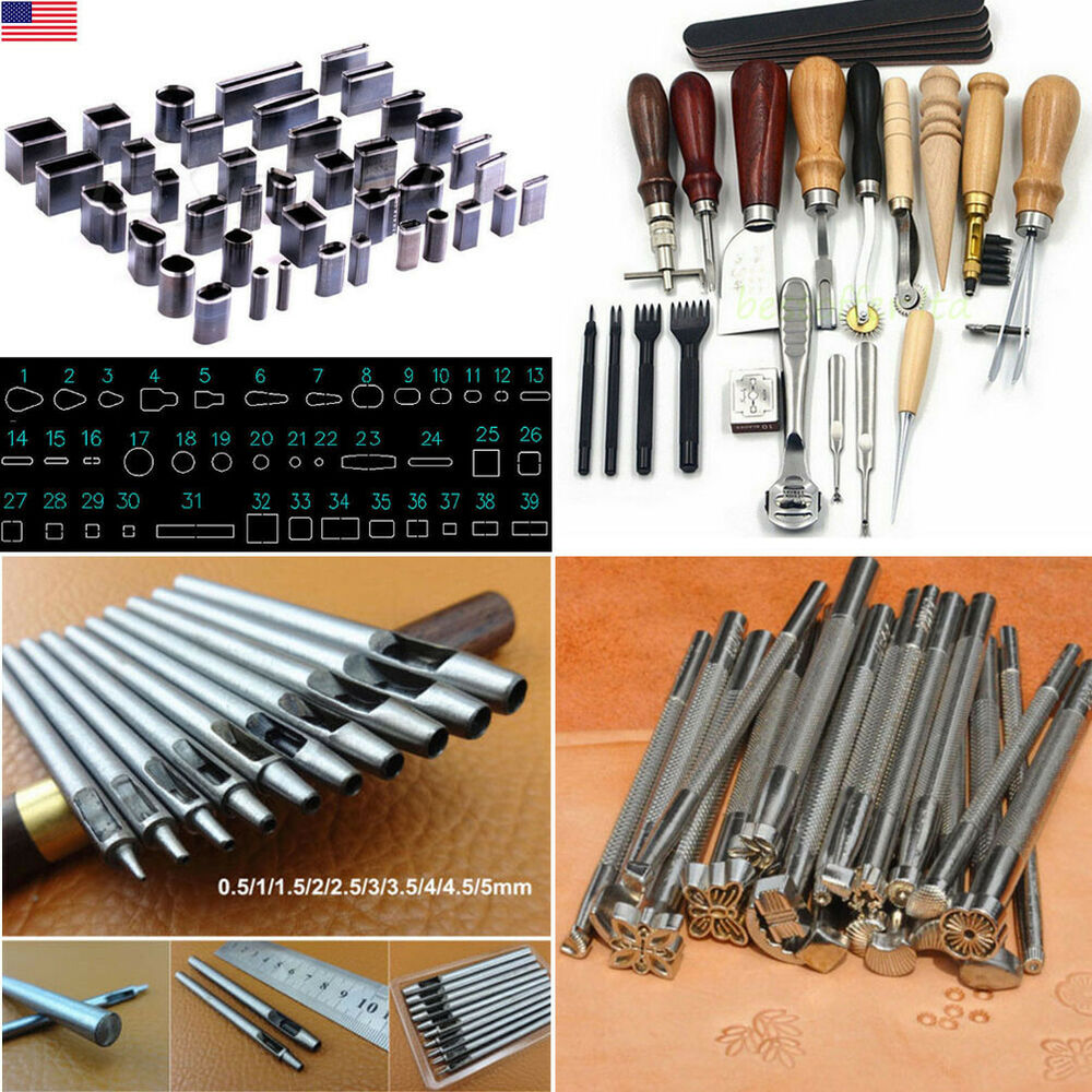 Various leather craft tools punch stitching stamp leather for Leather craft kits for sale