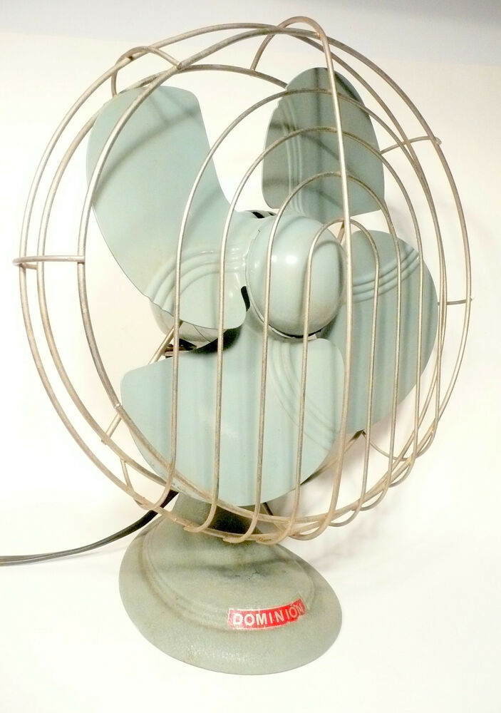 People Using Electric Fan : Working vintage quot blade dominion oscillating speed