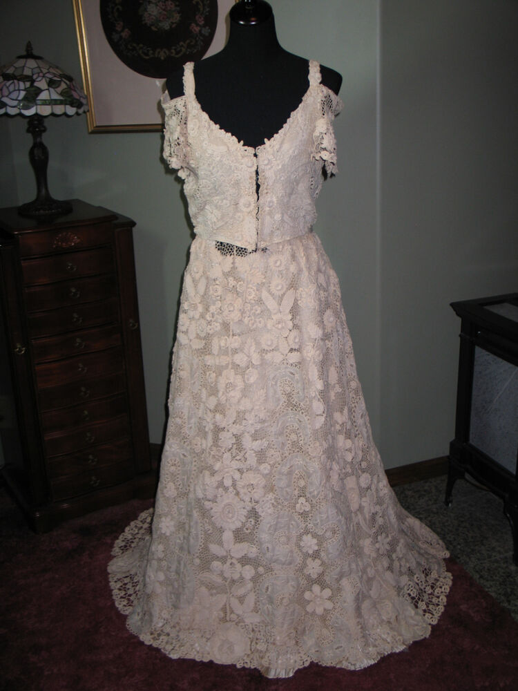 Romantic antique irish crochet lace wedding dress gown mid for Vintage wedding dresses paris