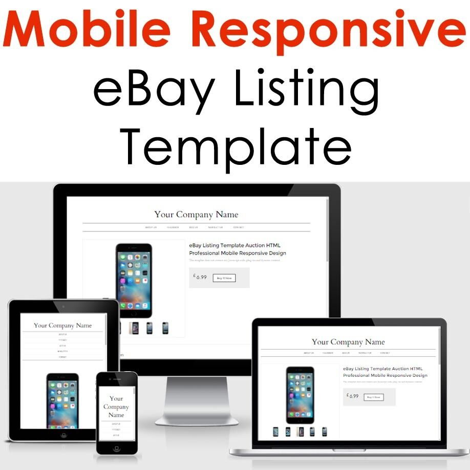 Template Ebay Listing Design Mobile Professional Responsive Auction