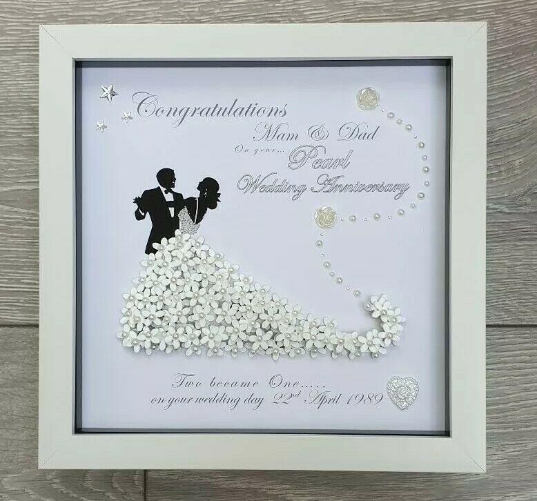 Personalised Deep Box Frame 3d Golden Silver Wedding Anniversary