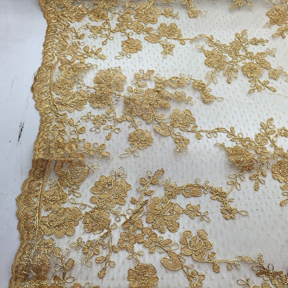 Metallic Gold Flowers Embroider On A Mesh Wedding Bridal