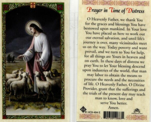 Laminated Prayer Cards - Time of Distress Sick Illness Suffering Trials HC9-494E
