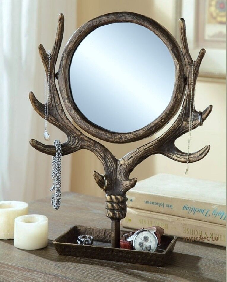antler table vanity mirror jewelry tree holder stand swivel rustic cabin lodge ebay. Black Bedroom Furniture Sets. Home Design Ideas
