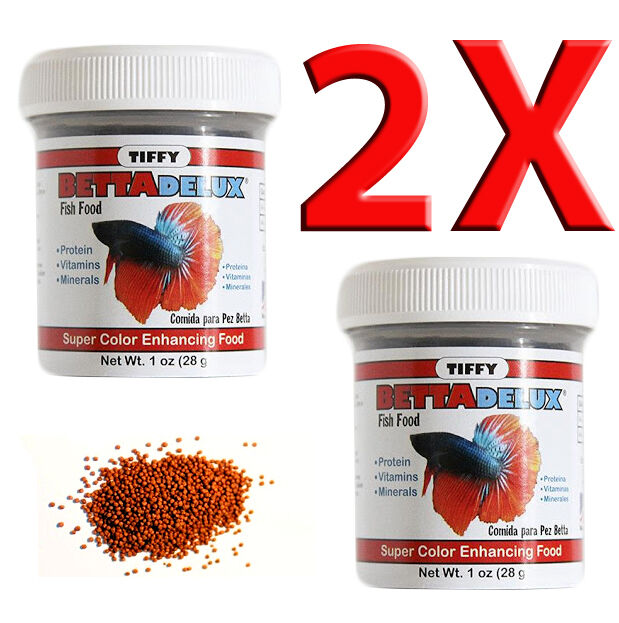 Two betta delux pellet fish food nutritious diet protein for Betta fish pellets