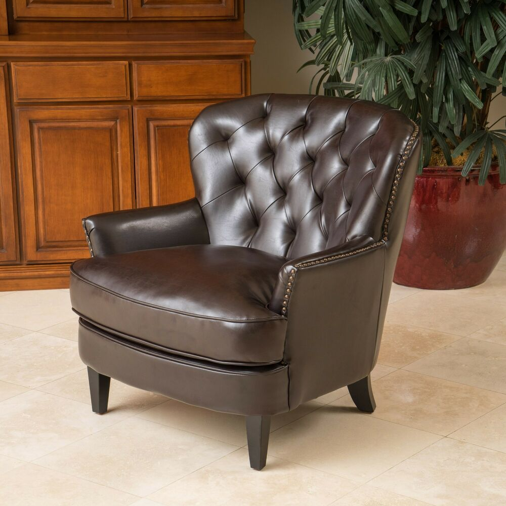 Living room furniture brown tufted leather club chair w nailhead accent martlocal for Occasional chairs for living room