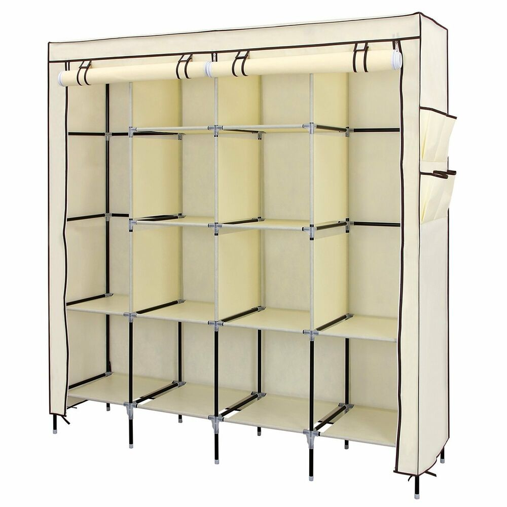 Canvas Storage Boxes For Wardrobes: QUADRUPLE MULTIPLE CANVAS WARDROBE WITH HANGING RAIL HOME