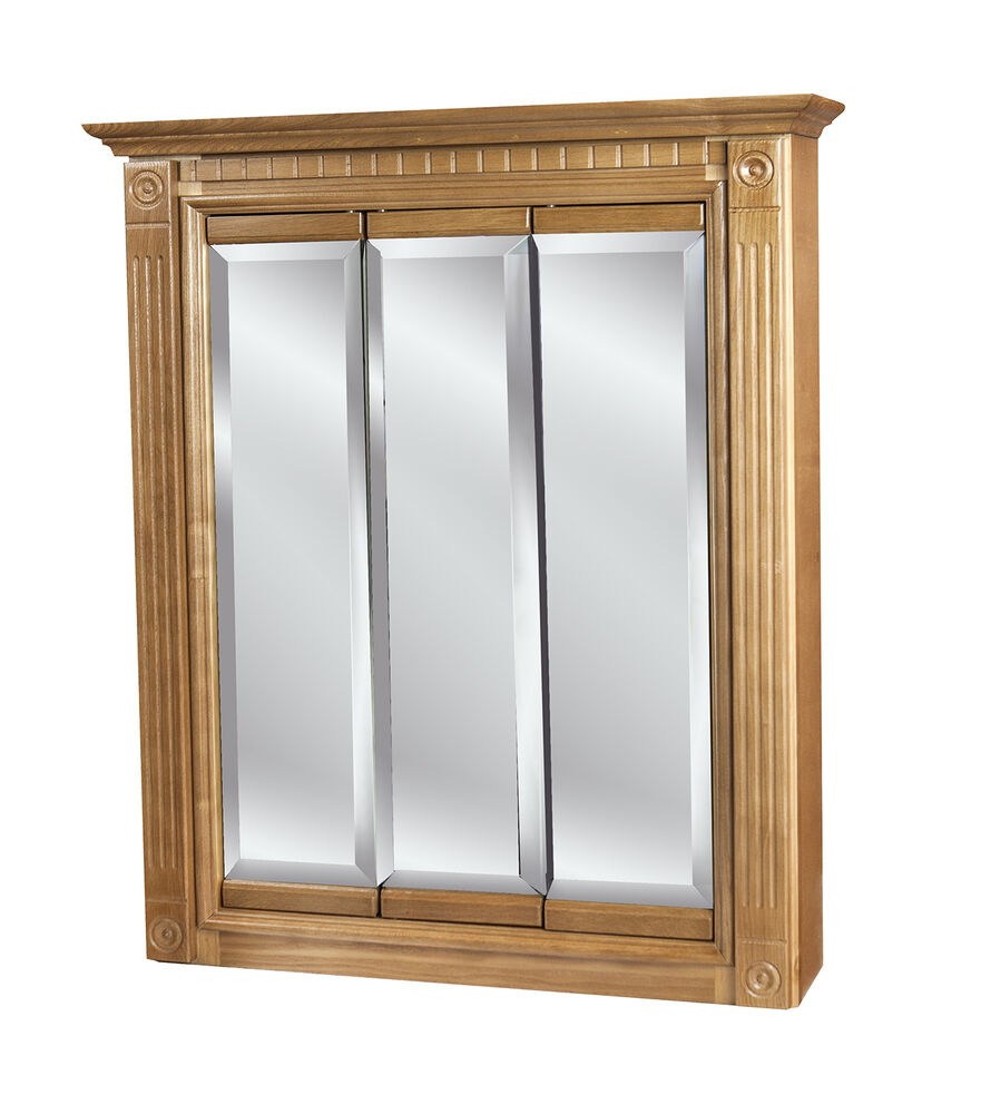24x30 Tri View Mirrored Oak Medicine Cabinet EBay