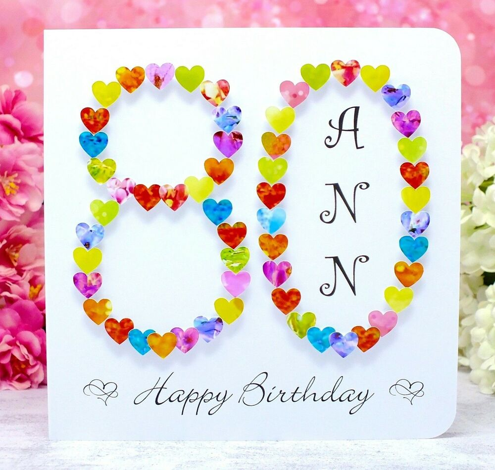 Details About 80th Birthday Card Handmade Personalised Age 80 Mum Dad Name