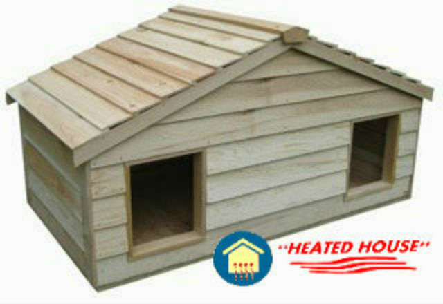 Large duplex heated insulated cedar cat house shelter ebay for Insulated dog house for sale