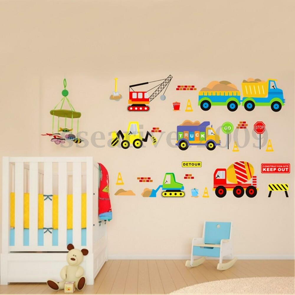 Removable Transport Truck Digger Wall Sticker Art Decal