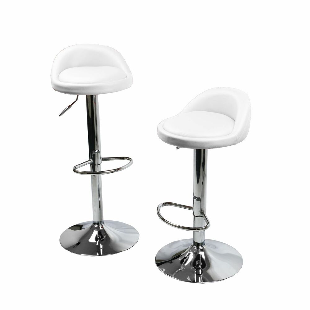 set of 2 white leather bar stools swivel dinning counter adjustable height chair ebay. Black Bedroom Furniture Sets. Home Design Ideas