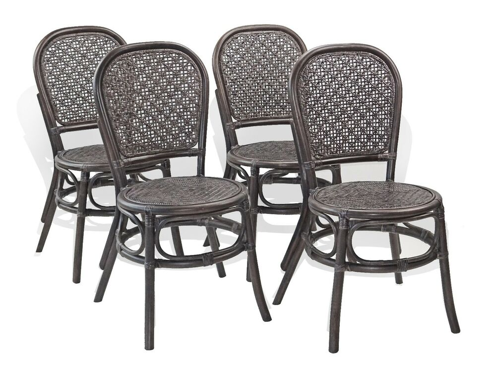 Set Of 4 Timor Rattan Wicker Dining Side Chairs Color Dark Brown EBay