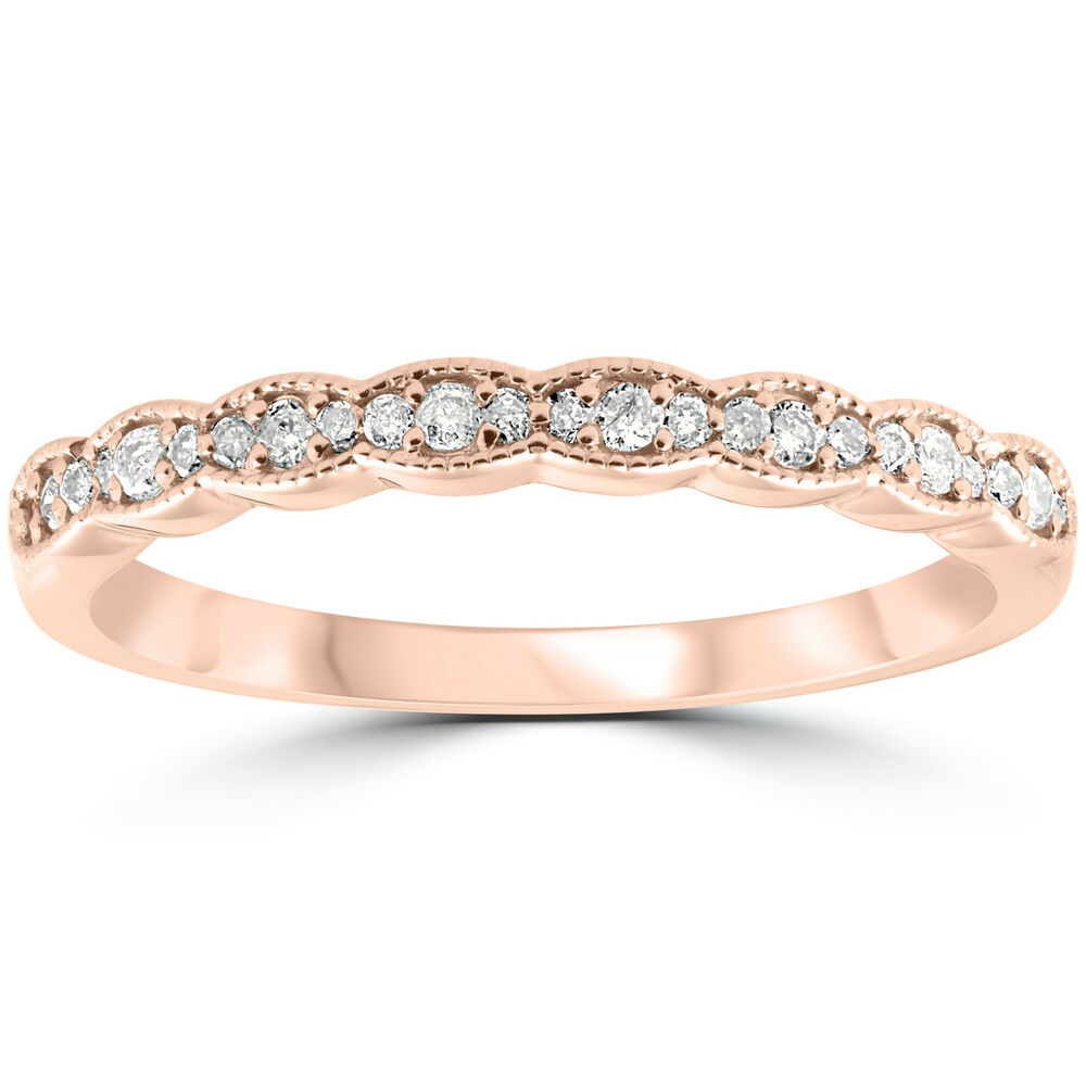1/5 cttw Diamond Stackable Womens Wedding Ring 14k Rose ...