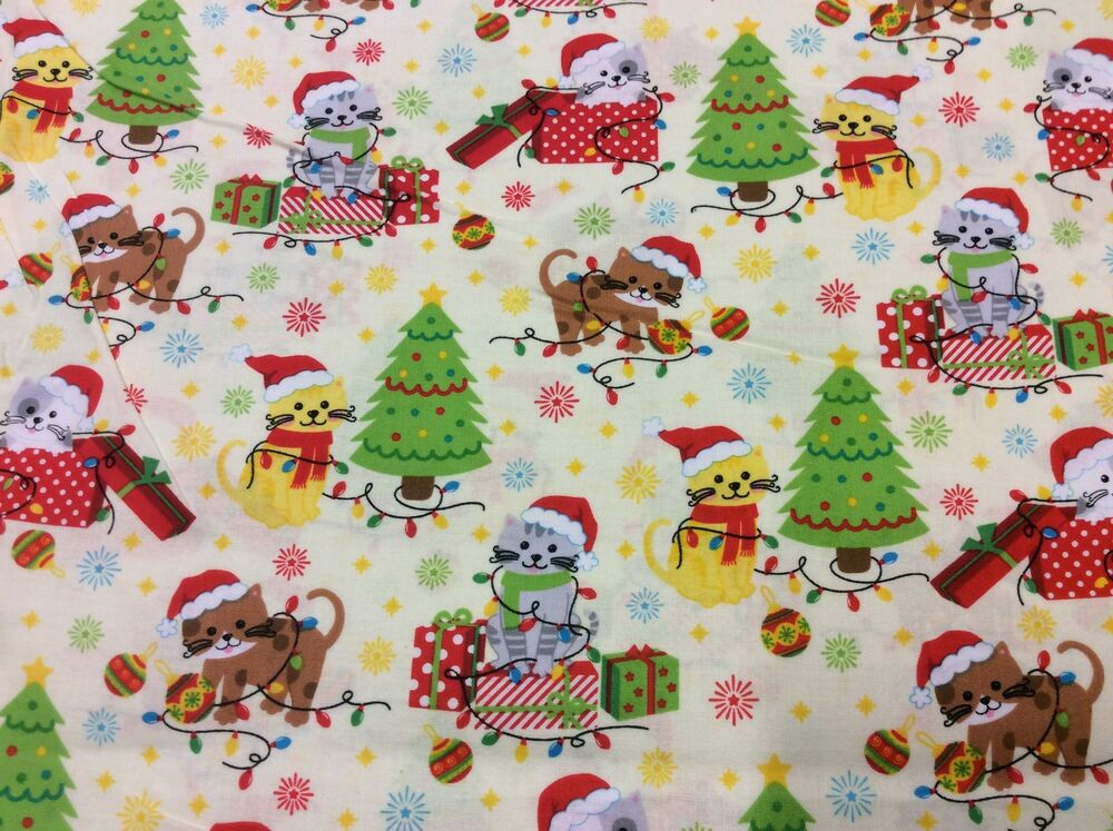 Fat quarter kitty cat christmas allover 100 cotton for Cotton quilting fabric