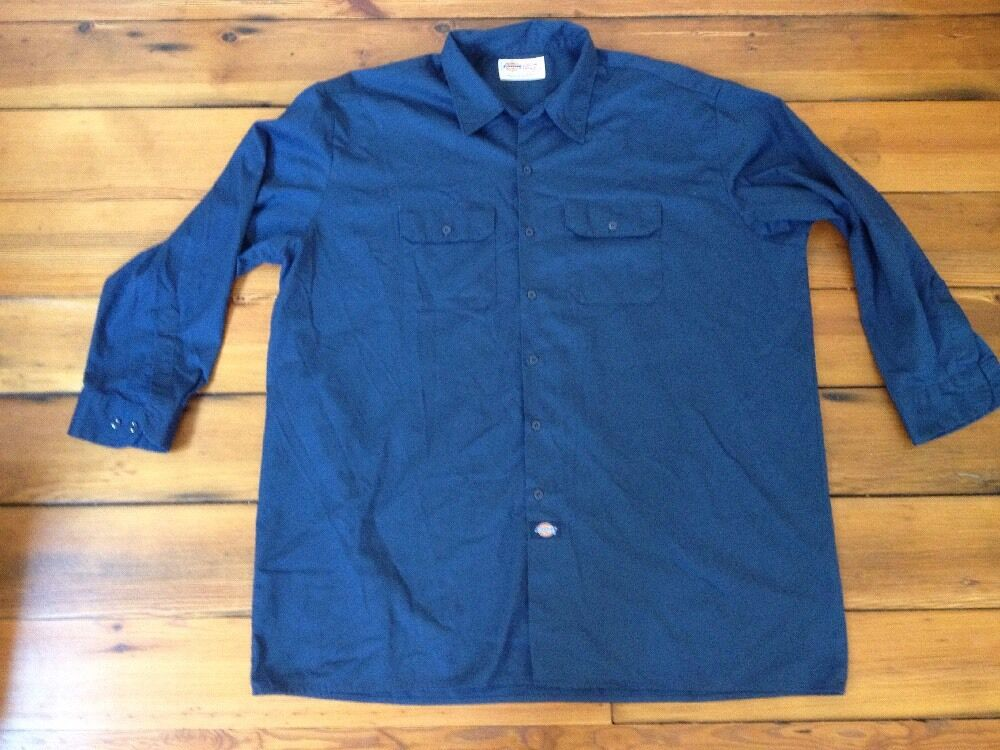dickies usa made cotton blend navy blue button down work. Black Bedroom Furniture Sets. Home Design Ideas
