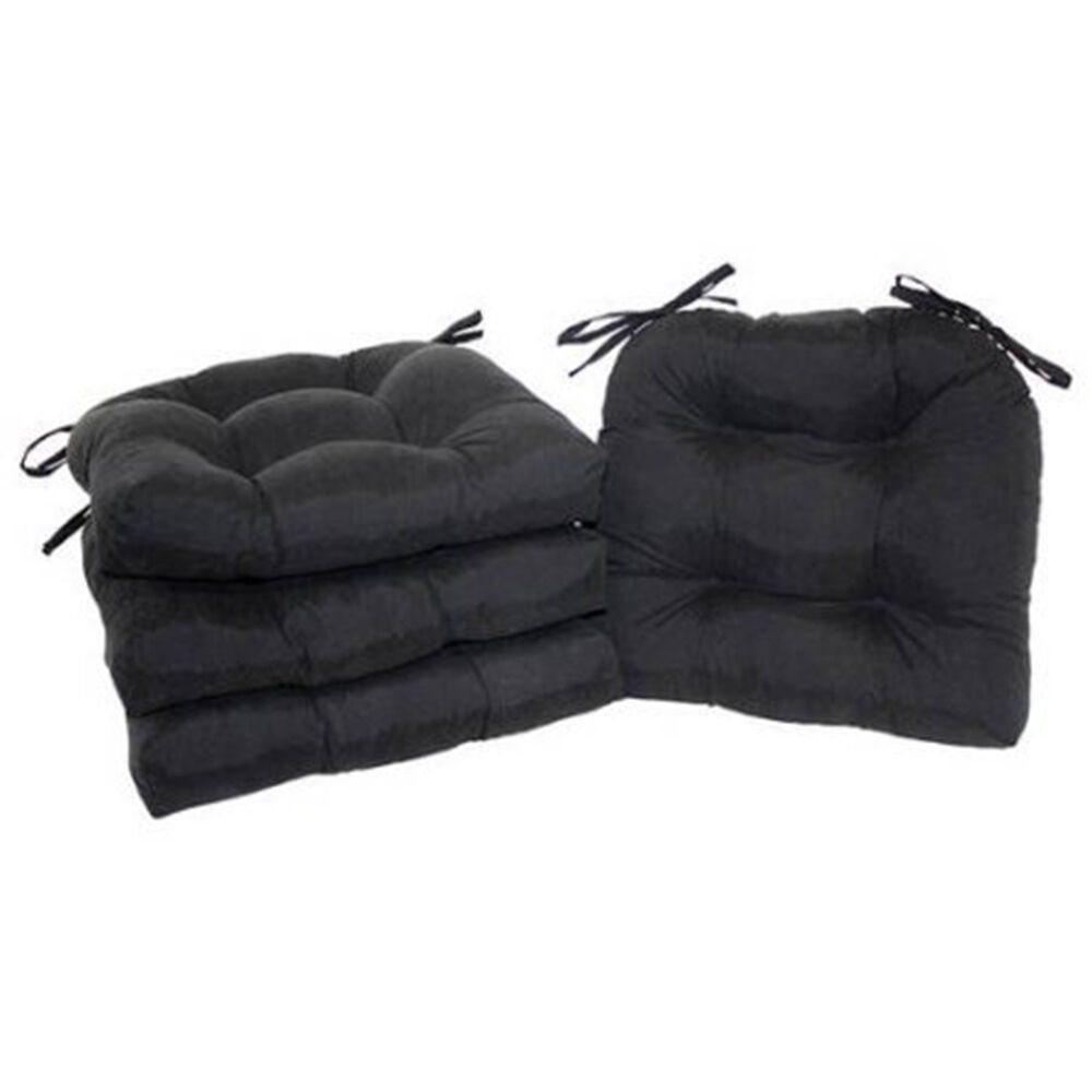 chair cushion pad seat set with ties patio outdoor garden dining yard set of 4 ebay. Black Bedroom Furniture Sets. Home Design Ideas