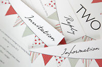 Wedding Invitations, Bunting Design Sample Pack by Dilly & Dilly
