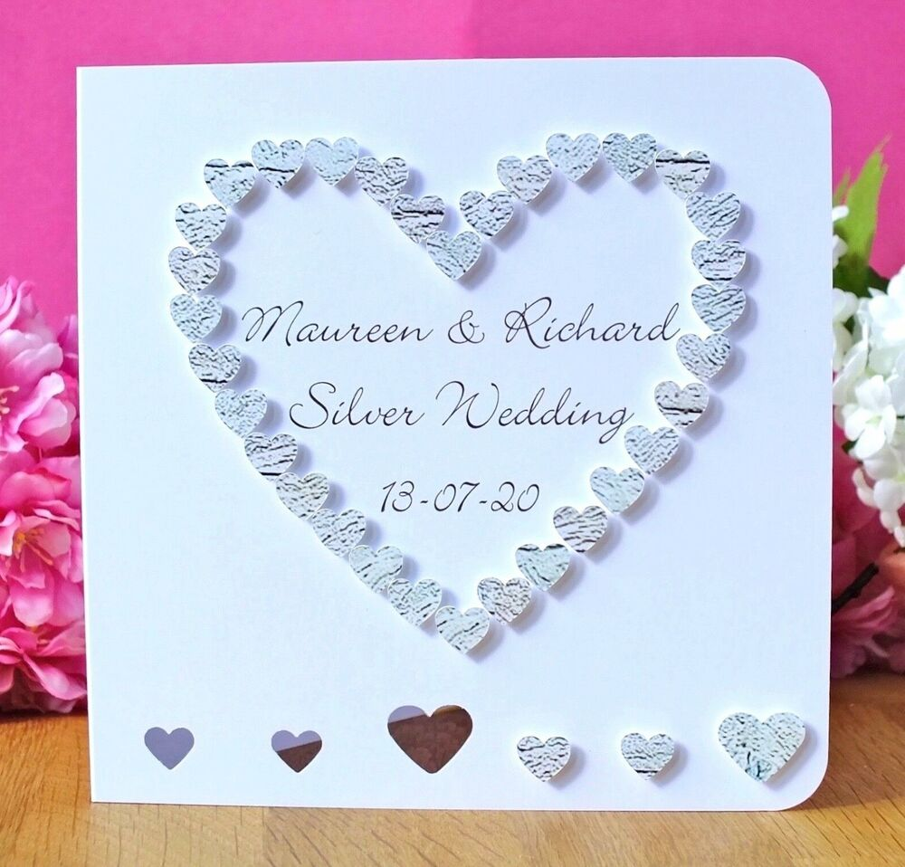Handmade Personalised 25th Silver Wedding Anniversary Card, 25th ...