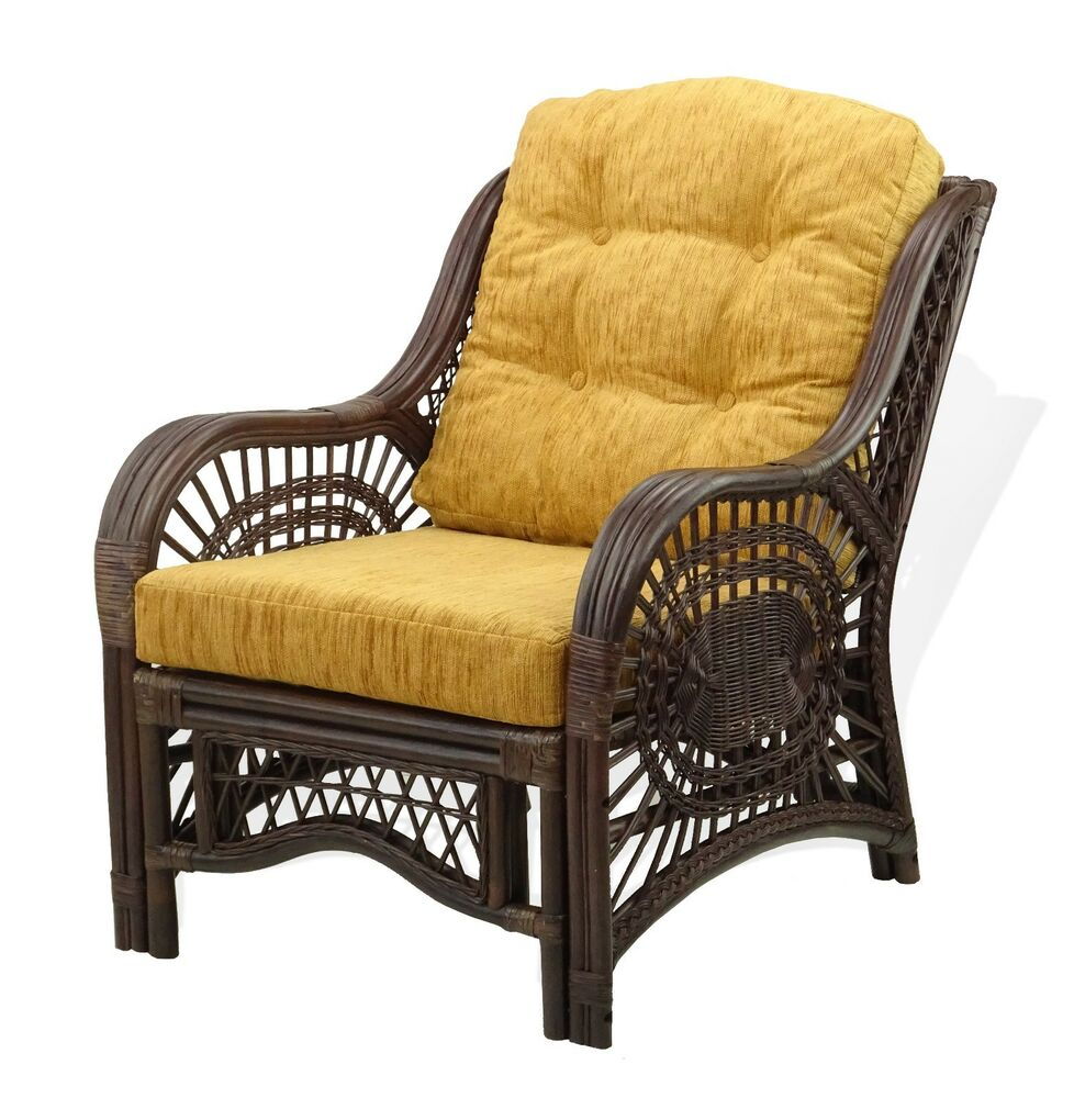 lounge arm chair malibu handmade rattan wicker cream cushions color dark brown
