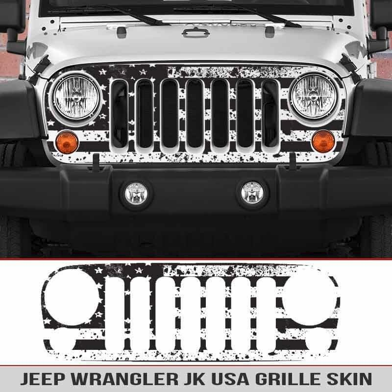 Jeep Grille Skin Usa Distressed Flag Grill Die Cut Fits