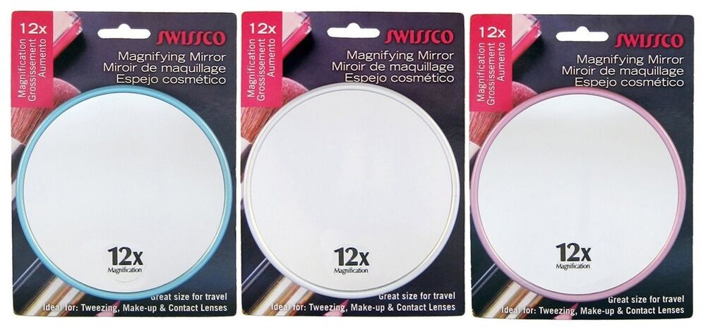 Swissco Suction Cup 12x Magnifying 5 Inch Travel Mirror