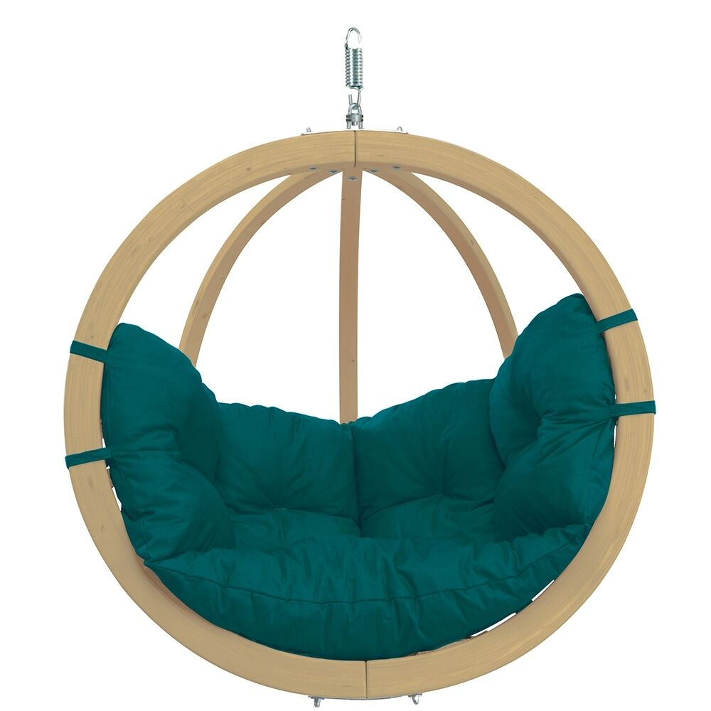 amazonas globo chair gr n green luxus h ngesofa kugel holzschaukel ebay. Black Bedroom Furniture Sets. Home Design Ideas